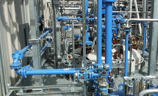 piping system on a process skid