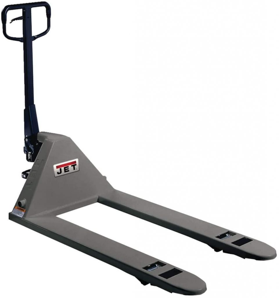 gray pallet jack with black handle