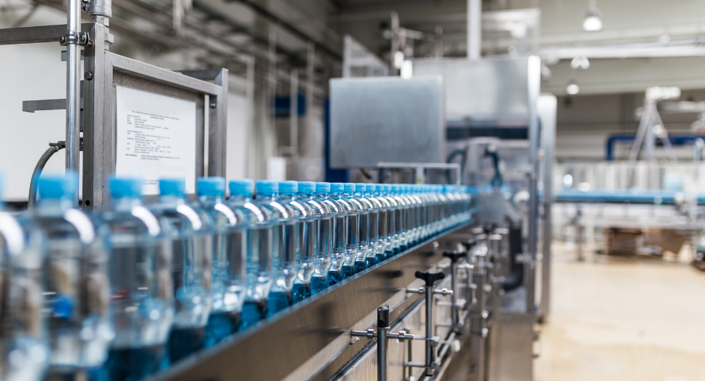 The flow of material or product is continuous mostly bottled liquid