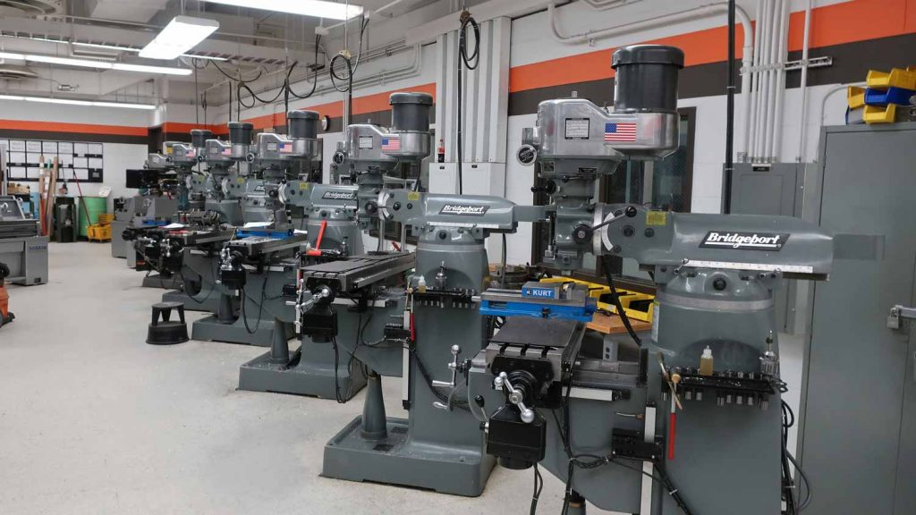 Example of Job shop manufacturing is traditional machine shop, with similar machine types located together.