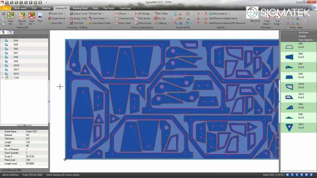 nesting software screenshot