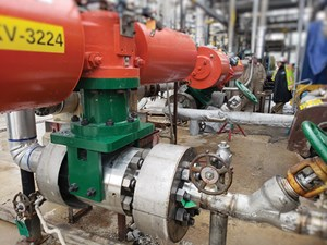 Floating ball valve installed in a high-temperature application.